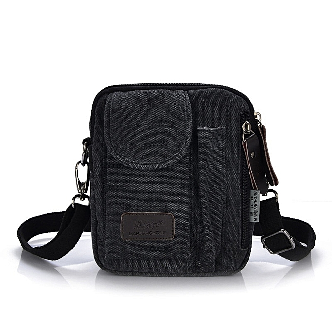 a2f9da4bd6e1 New Men's Crossbody Bags Best Quality Canvas Messenger Bags Men Leisure  Shoulder Bag Men Designer Small Mini Handbags Briefcase(Black)