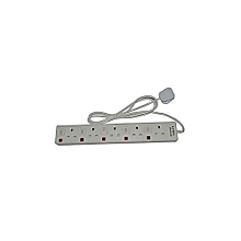5-Way Socket Extension Cable - 6Ft - White