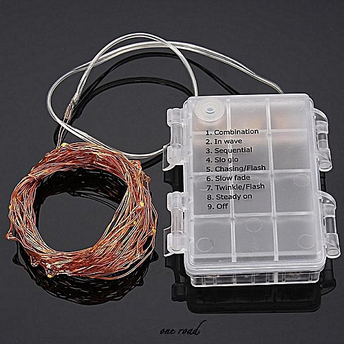 50Led Battery-Powered Copper Wire Led String Xmas Fairy Light Remote  Controller White