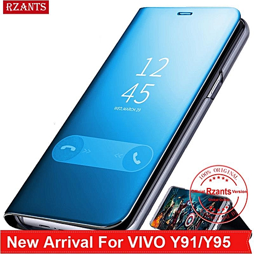 ... Shockproof Backcover Phone Source · OEM Rzants For VIVO Y91 Y95 Case Luxury Slim Mirror Intelligent Stand Leather Flip Phone Casing