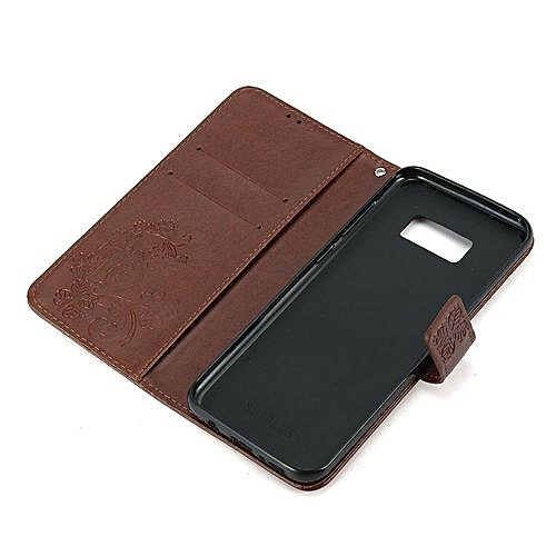 new style 4fce7 4a078 Samsung S8 Embossed Mobile Phone Leather Case Clover Clamshell Card Phone  Case Tpu Shell Brown