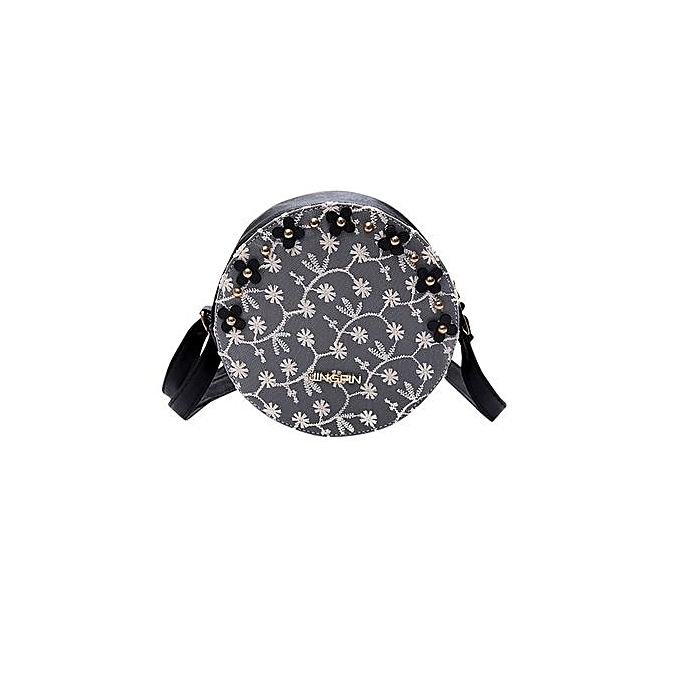 bluerdream-Women Lace Floral Round Handbag Zipper Bag Shoulder Bag Tote  Messenger Bag BK- ...