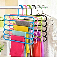 S-shaped Plastic Pants Hanger Clothes Rack Space Saver - Pink