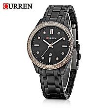 9010 Black Quartz Women Watch With Black Dial And Diamond Calendar