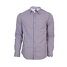 Black Long Sleeved Casual Checked Shirt