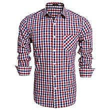 Men Fashion Slim Long Sleeve Plaid Button Down Casual Shirts ( Red )
