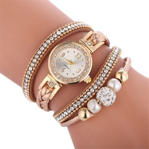 Fohting Beautiful Fashion Bracelet Watch Ladies Watch  Round Bracelet Watch -Brown