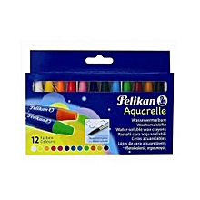Pelikan Aquarelle Wax Crayons - 12 Assorted Colours