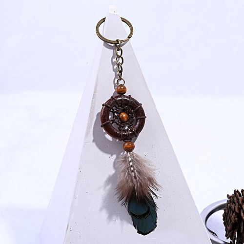 Vintage Silver Leaves Handmade Dream Key Chain Keyring Dream Feather  Keychains