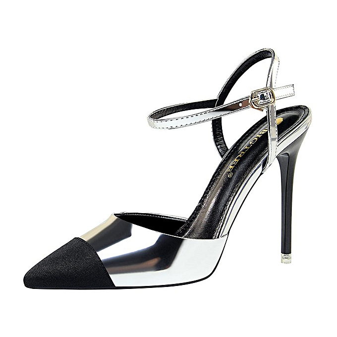aeebc720819 Stitching Color High Heels Sandals Women Ankle Strap High-Heeled Shoes  Slingback Party Women Shoes Pointed Toe Stiletto Ladies Shoes