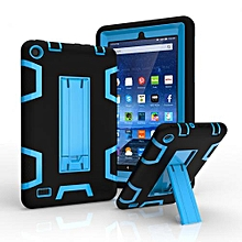 For Amazon Kindle Fire 7 Dual Layer Hybrid Armor Protective Stand Cover Case-Multicolor