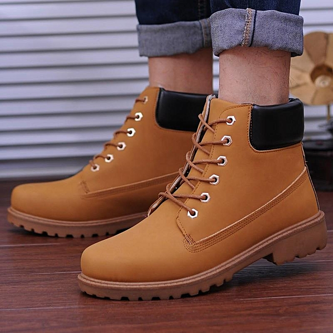 00d648e01aa Work Boots Men's Winter Leather Boot Outdoor Waterproof Rubber Snow Martin  Boot Yellow-EU