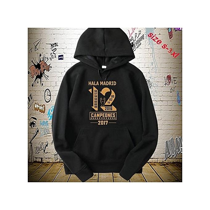 a610a8e7feb Hoodies Madrid Men Bambino Champions 12 Mark Printed Pullover Sweatshirt  Real Ding