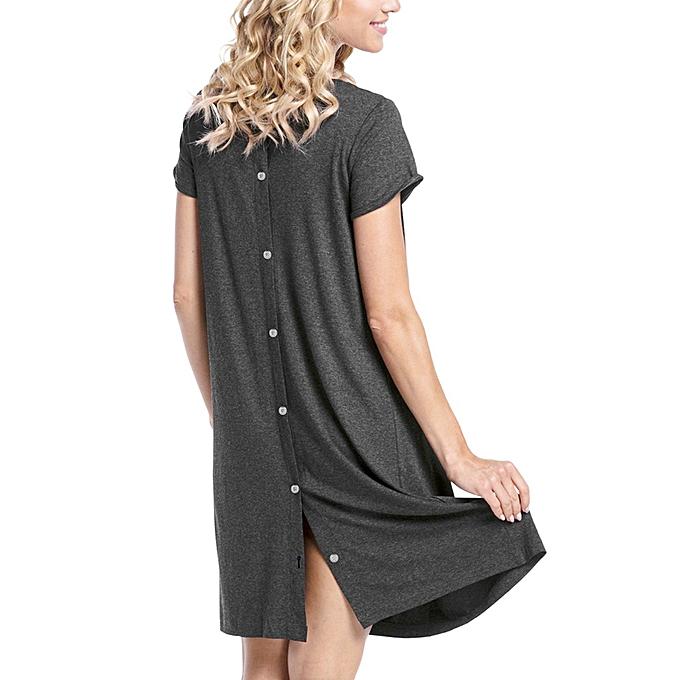 8d6a03fa5a628 Hiaojbk Store Summer Women Pregnancy Care Wrap O Neck Short Sleeve Loose  Casual Dress-Dark