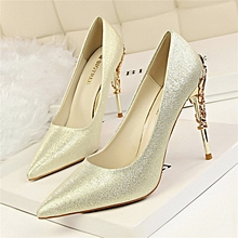 10cm High Thin Heel Stiletto Sexy Pumps (Gold)
