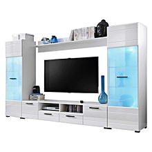 High End Modern Elegant Wall Unit / TV Stand with LED Light System for Upto  65 inches TVs White