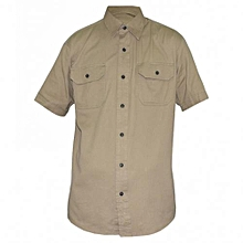 Beige Mens Short Sleeved Shirts