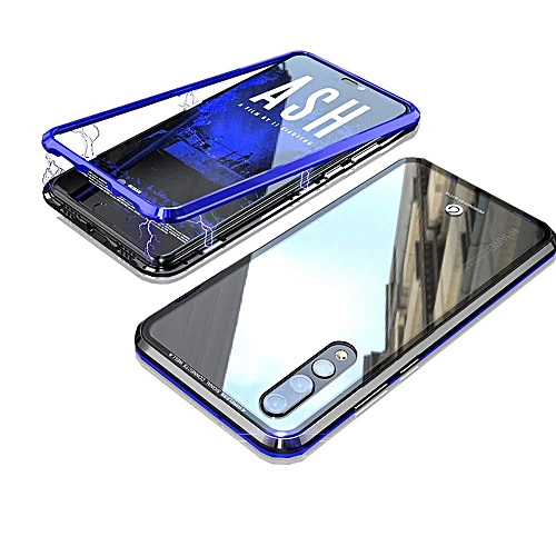 low priced a0142 c4aaa Huawei P20 Pro Case,Magnetic Adsorption Case Metal Bumper Case +Tempered  Glass Back With Built-in Magnet Flip Cover For Huawei P20 Pro (Blue)