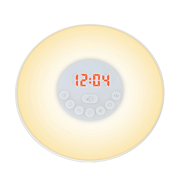 Wake Up Light Alarm Clock Sunrise/Sunset Simulation Digital Clock with FM  Radio 7 Colors Light Nature Sounds Snooze Function Touch Control
