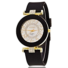New Fashion Silicone Bling Crystal Quartz Watch Women & Girls(Black)