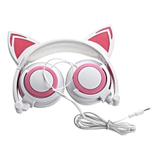 Cat Ear Kids Headphones Rechargeable&LED Light Up Foldable Over Ear Headphones, White&pink