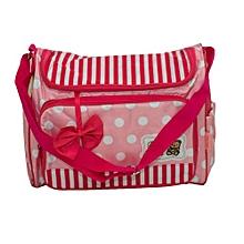 1 Piece Medium Size Multi functional Diaper Bag - Pink & White .