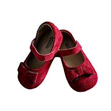 Girls Doll Shoes with a Bow on the Front and a Strap- Red
