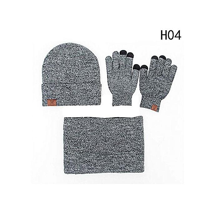 ac47db59e22 Fashion Eleganya 4Pcs Set Winter Warm Beanie Hat Scarves Gloves Set  Comfortable Woolen Hat Scarf Gloves Kit Simple Pure Color Cap for Women Men