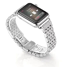 Alloy Rhinestone Diamond  Steel Watch Band for Apple Watch Series 1/2 42MM SL-Silver