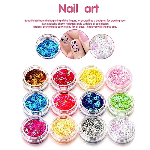Buy Zlime 12 Colors Nail Art Tips Stickers Acrylic 3d Glitter