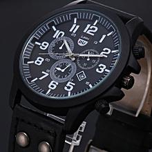 1bcbb56e1 Meibaol Store Vintage Classic Mens Waterproof Date Leather Strap Sport  Quartz Army Watch BK-Black