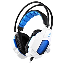 Headphone 3.5mm + USB Wired Gaming Headsets Over Ear Vibration Headphones LED Light Noise Canceling Earphone w/ Mic Volume Control for Desktop