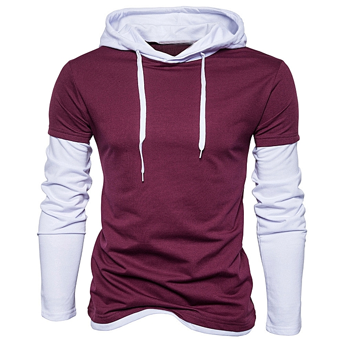 e51d9444cb2d Mens  Autumn Winter Solid Patchwork Hoodie Hooded Sweatshirt Tops Blouse-  wine Red