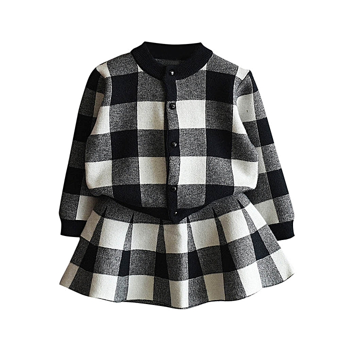 9d96927fd605 MUYI Toddler Kids Baby Girls Outfit Clothes Plaid Knitted Sweater ...
