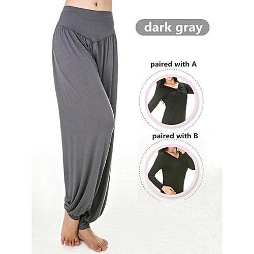 dc47c4342c721 Generic Women Professional Fitness Dancing Yoga Pants Jogging Running Sport  Long Trousers Loose Modal Cotton Sport Trousers Plus Size M-3XL Dark Grey    Best ...