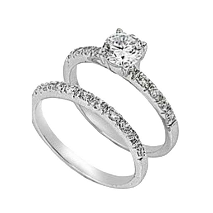 Dawn Jewellers Sterling Silver Double Engagement Ring Best Price