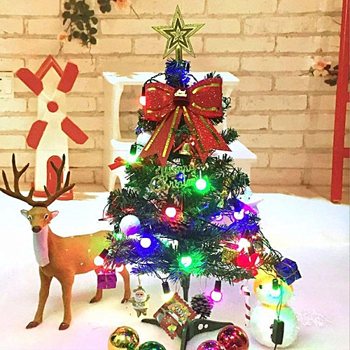 60cm mini christmas tree decoration led light decor xmas home office party gift