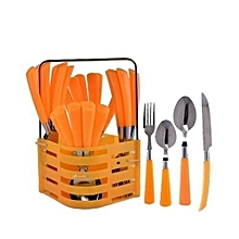 Cutlery Set - 24 Pieces - Orange .