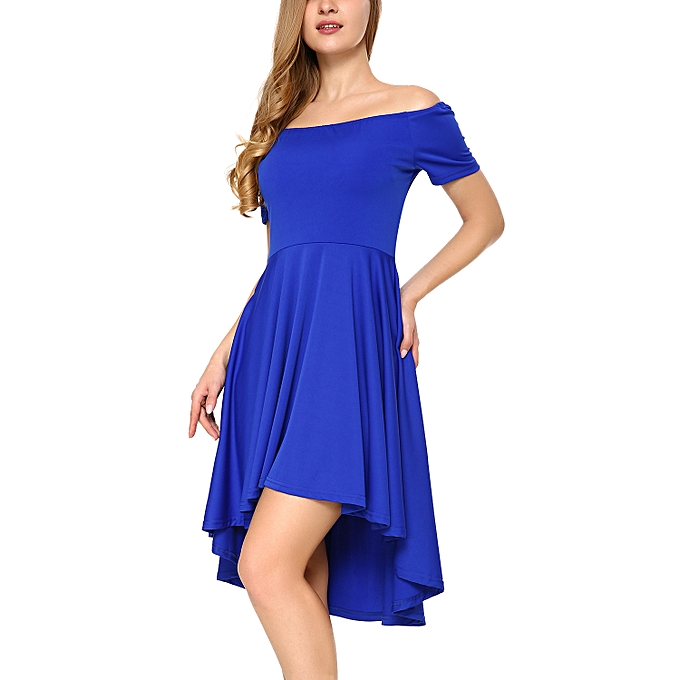Generic Women Off Shoulder Short Sleeve High Low Skater Dress Royal ... 7dd698e77