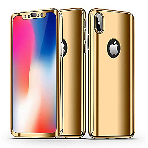 finest selection 3957c 5c493 iPhone X Case, Ultra Slim Electroplate 360 Degree Full Body Protection  Mirror Case With Tempered Glass Screen Hard PC Protector for Apple iPhone X  - ...