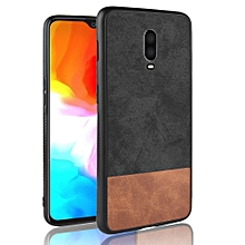 """OnePlus 6T Case,Ultra-Thin Multi-Layer Hybrid PU Leather TPU Bumper PC Hard Anti-Slip Shockproof Protective Cover for OnePlus 6T 6.41"""" -Black+Brown"""
