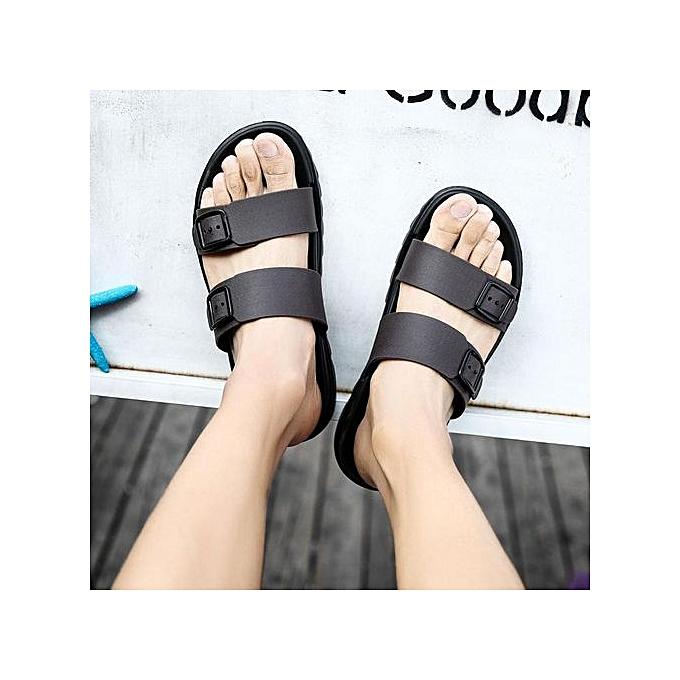 1169f54f22b Men Leather Beach Shoes Outdoor Summer New Male Mens Slide Flip Flops  Sandals Flat Shoes(black)
