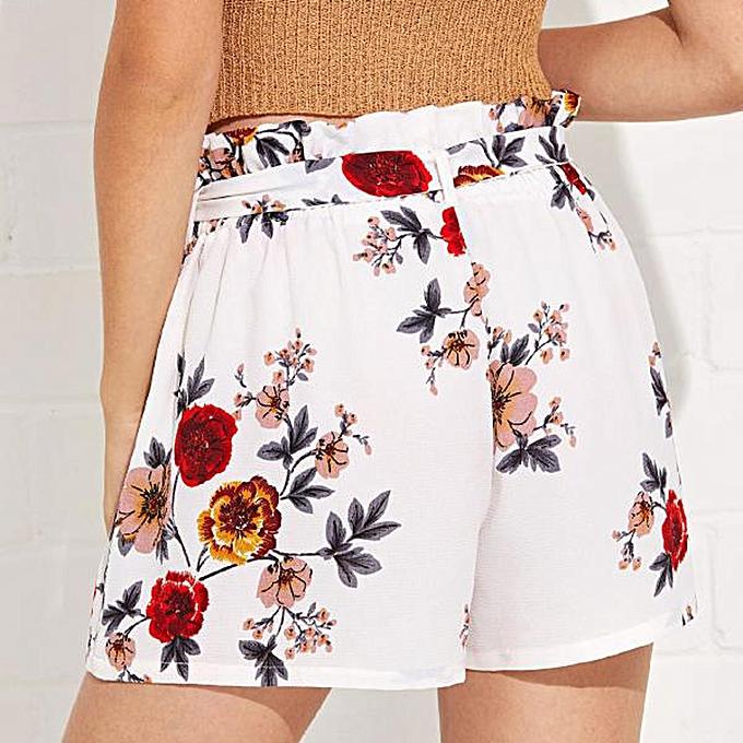 7529bcafea Hiaojbk Store Women Print Casual Belt Loose Hot Pants Lady Summer Beach  Shorts Trousers-White