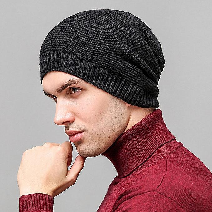 1f38d3284 Wenrenmok Store Unisex Outdoor Fashion Keep Warm Winter Crochet Hats  Knitted Wool Hemming Cap -Black