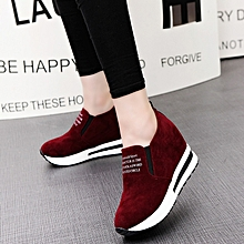 Womens Casual Platform Hidden Wedge Shoes Creepers Nubuck Leather Sneakers Sport