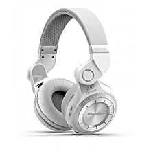 T2+ Wireless Bluetooth V4.1 Stereo Headphones with Microphone Headset Support TF Card FM Function - White