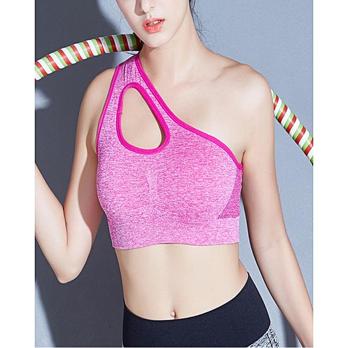a17adb858 Cute One Shoulder Solid Sports Bra Women Fitness Yoga Bras Gym Padded Sport  Top Athletic Underwear