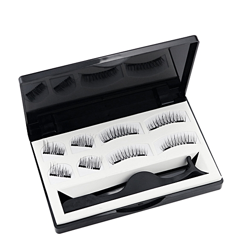 74fdf19ec6c Generic Magnetic False Eyelashes Set with Applicator 3D Black Dual Magnetic  Fake Lashes for Eyelashes Extension Reusable