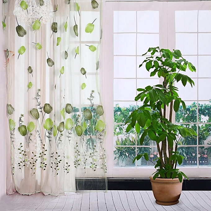 ... 100*200cm Tulips Printing Tulle Curtains Sheer Floral Balcony Drape Window Decoration- Green