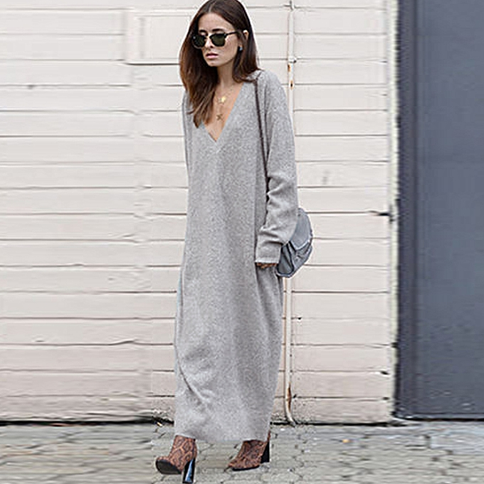 cb4631872c4 Winter Women Maxi Loose Knitted Sweater Dress Deep V Neck Long Sleeve  Ladies Knitwear Casual Jumper